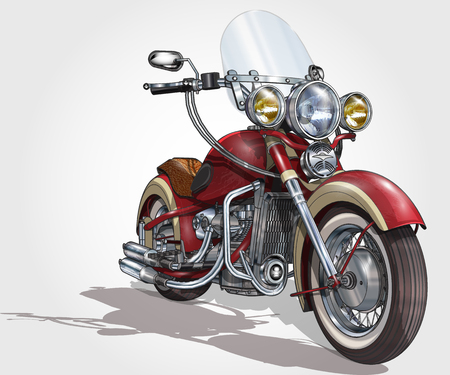 Classic vintage motorcycle. Vectores