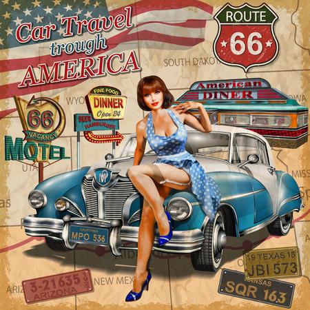 미국 빈티지 포스터를 통해 자동차 여행. 일러스트