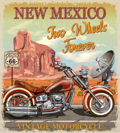 Vintage Route 66 New Mexico motorcycle poster. Иллюстрация
