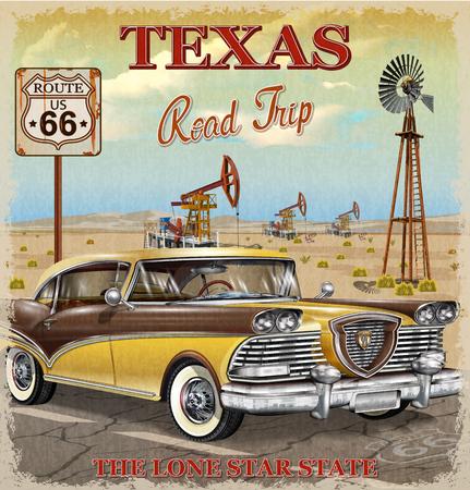 Vintage Texas road trip poster. Çizim