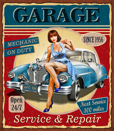 Cartel retro del garage del vintage