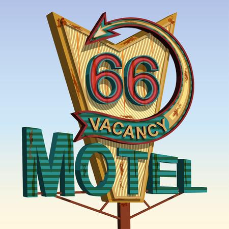 モーテル古い看板、ビンテージ金属看板。  イラスト・ベクター素材
