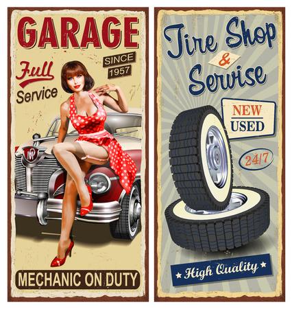 Set of vintage car  metal signs,Garage, Tire Service retro posters.