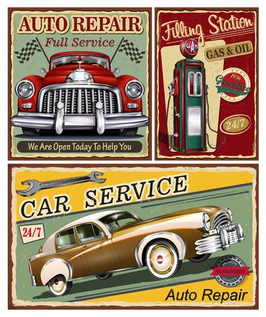 Satz Weinleseauto-Metallschilder, Garage, Retro- Plakat der Tankstelle.