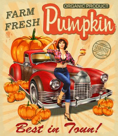 Retro plakat z pin-up girl w słomkowym kapeluszu w pobliżu furgonetka pełna dynie