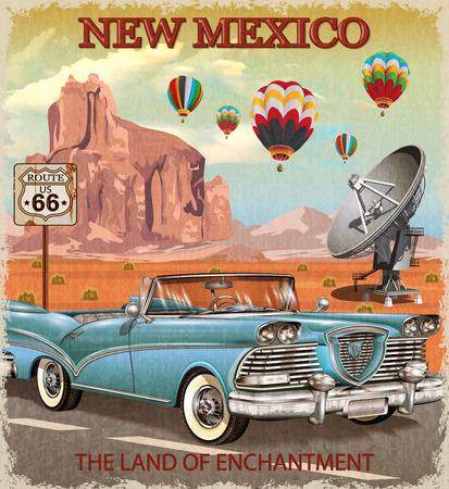빈티지 뉴 멕시코 도로 여행 포스터입니다.