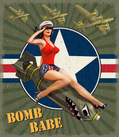 Vintage poster with pin-up girl on bomb. Ilustrace