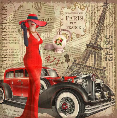 Vintage poster Paris torn newspaper background. Stock Vector - 88647941
