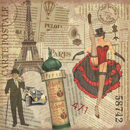 Vintage poster Paris torn newspaper background.