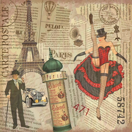 Vintage poster Paris torn newspaper background.