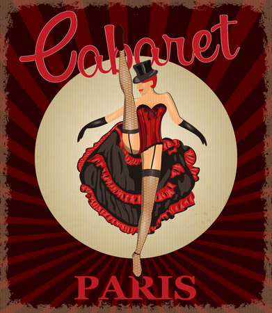 Retro poster with cancan dancer. Illustration
