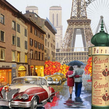Rainy Paris vintage poster. Illustration
