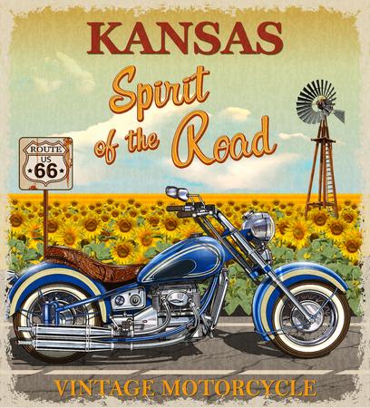 Cartel de la motocicleta de la ruta 66 de Kansas del vintage.