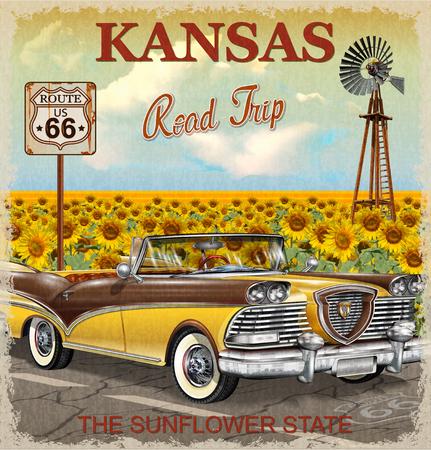 Vintage Kansas road trip poster.