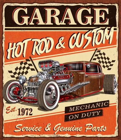 Plakat garażu Vintage Hot Rod.