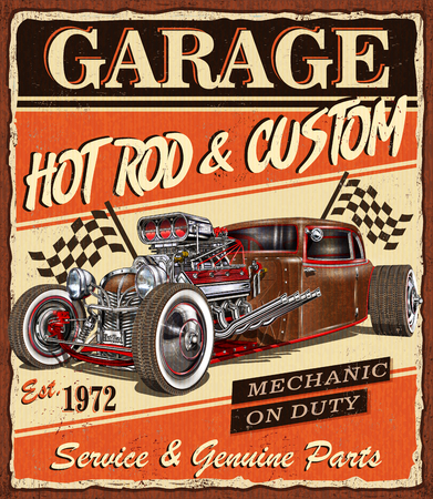 Vintage Hot Rod garage poster. Illustration