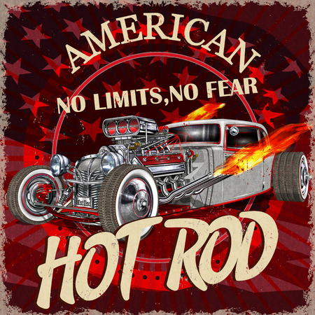 Vintage American Hot Rod  poster. Illustration
