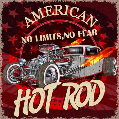 Vintage American Hot Rod  poster. Illusztráció