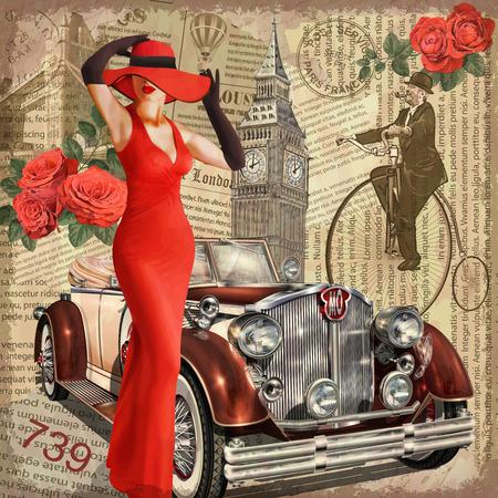 Vintage poster London torn newspaper background. Banco de Imagens - 90923047