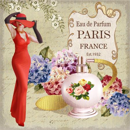 Rocznika plakat z piękną młodą kobietą i butelką pachnidło.