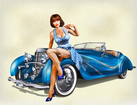 ビンテージの背景にピンナップ ガール、レトロな車。  イラスト・ベクター素材