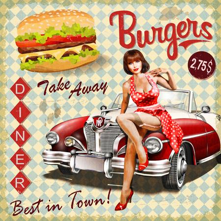 Sztuka plakatu Burger z pin-up girl i retro samochodów. Ilustracje wektorowe