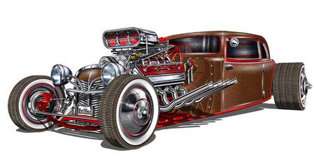 ヴィンテージホットロッドアンティーク古い車の車  イラスト・ベクター素材