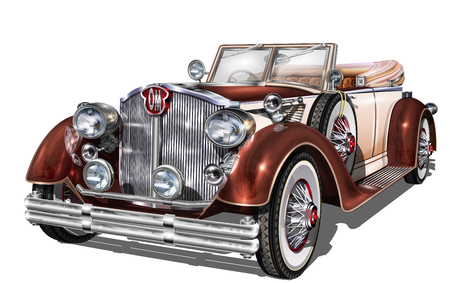 Vintage car icon illustration on white background.