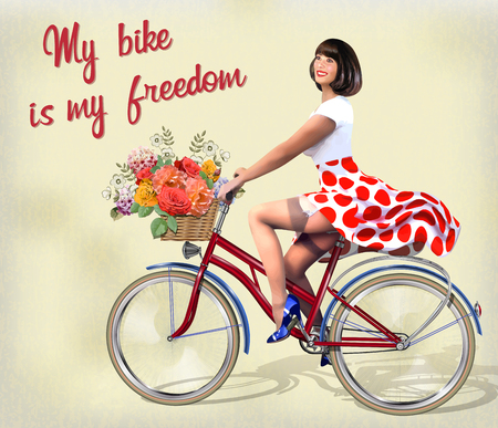 Happy Pin-up girl on  a bike with flowers.