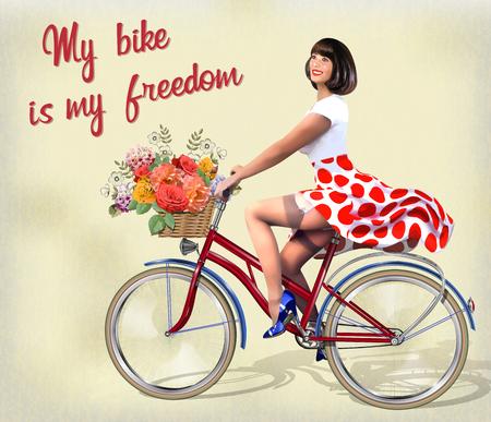Gelukkig speld-op meisje op een fiets met bloemen. Stock Illustratie