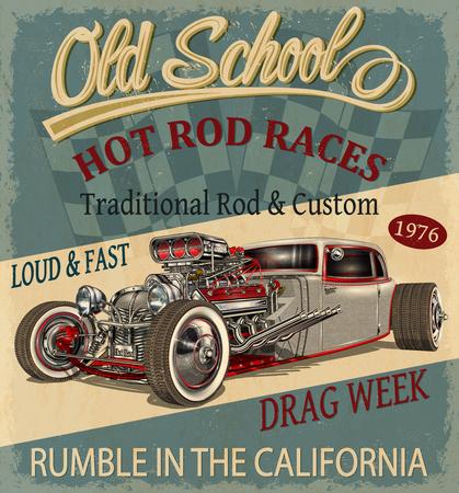 Vintage Hot Rod poster. Vettoriali