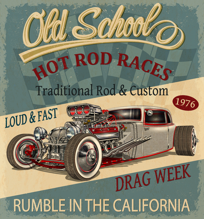 Vintage Hot Rod poster. Çizim