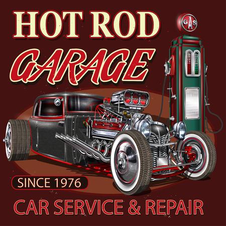 Vintage Hot Rod garage poster. Illustration