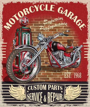 Vintage motorcycle classic biker club poster, banner.  イラスト・ベクター素材