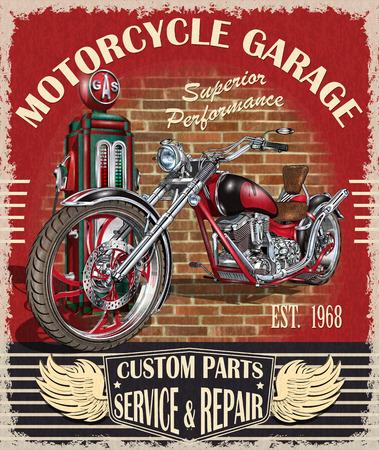 Vintage motorcycle classic biker club poster, banner. Stock Illustratie