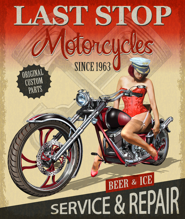 Vintage motorcycle poster with a lady riding on it.