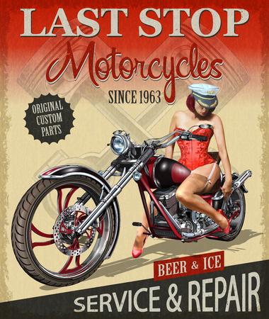 Plakat motocyklowy w stylu vintage z panią jadącą na nim.