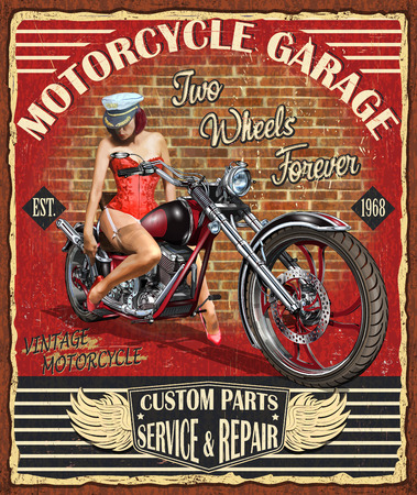 Vintage motorcycle, antique biker club poster design.