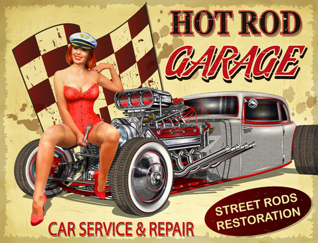 Vintage Hot Rod garage poster. Çizim