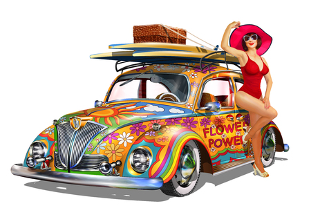 Vintage car with pin-up girl and surfboards. Illustration