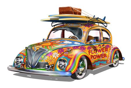 히피 빈티지 자동차. 일러스트