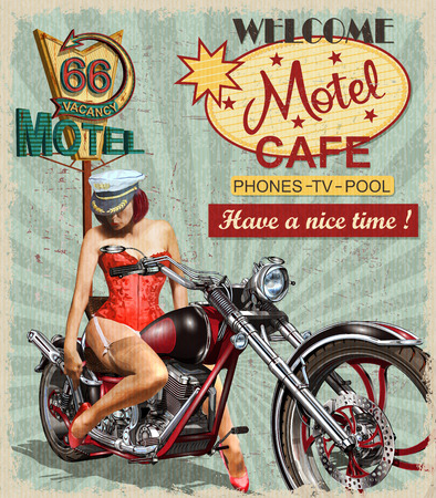 Motel route 66 vintage poster with a woman and an motorcycle.
