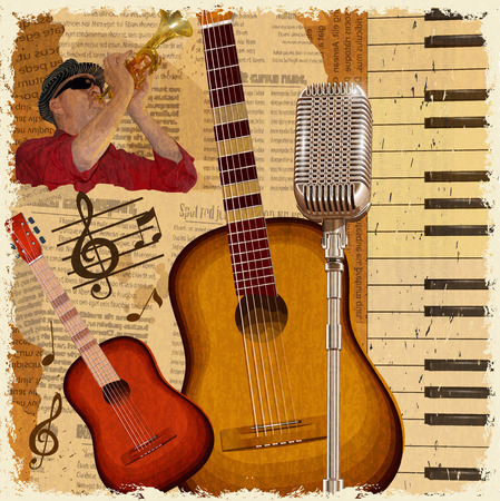 Vintage poster with musical instruments and musician.