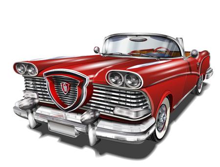 Ikona rocznika samochodu czerwony. Ilustracje wektorowe
