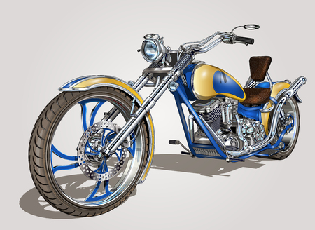 Classic vintage motorcycle. Illustration