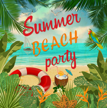 Summer beach party poster.
