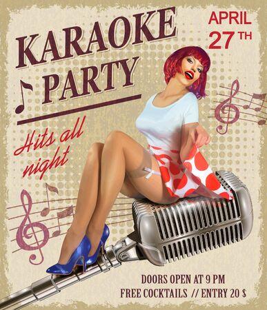 Karaoke vintage poster with sexy pin-up girl. Ilustração