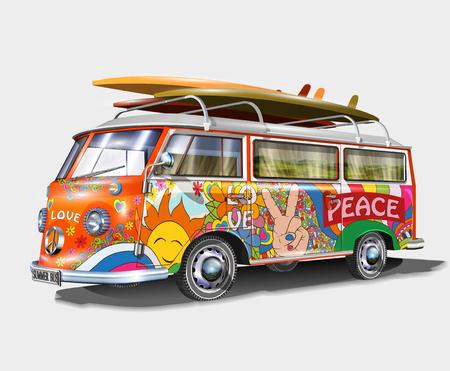 Retro Bus mit Surfbrettern