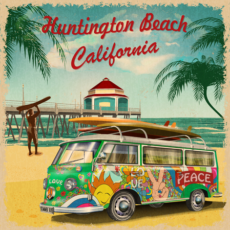Huntington Beach,California retro poster. 写真素材 - 98412779