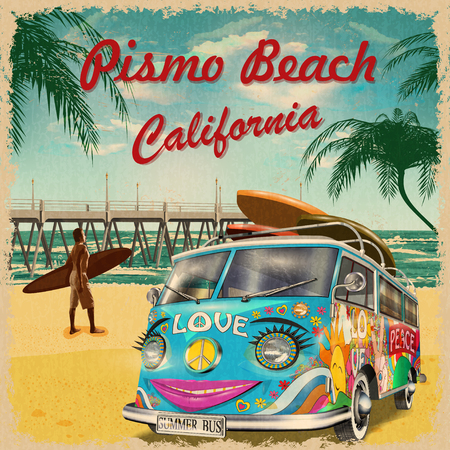 ピスモビーチ、カリフォルニアレトロポスター。